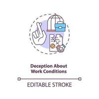 decepção sobre o ícone do conceito de condições de trabalho vetor