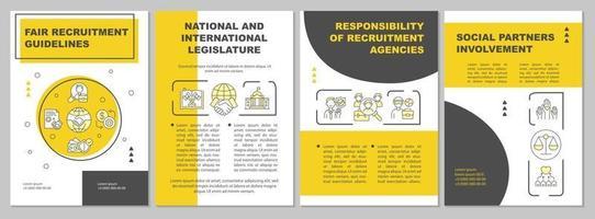 modelo de folheto de diretrizes de recrutamento justo vetor