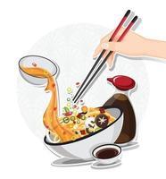 sopa de macarrão asiática na tigela, comida asiática, ilustração vetorial vetor