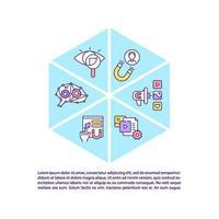 ícones de linha de conceito de conteúdo inteligente com texto vetor