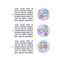 como funciona ícones de linha de conceito com texto vetor