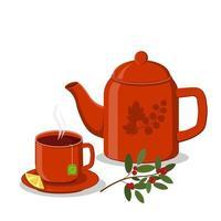 xícara de chá vermelho e bule vetor