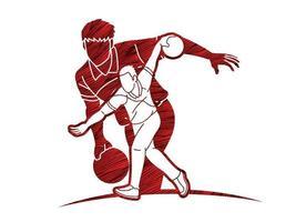 grupo de jogadores de boliche esportivos masculinos vetor