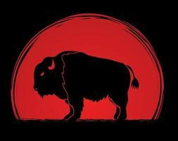 silhueta de bisão grande búfalo vetor