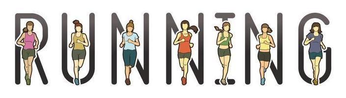 corredor de maratona feminina com texto em execução vetor