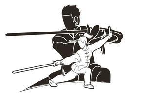 ação de lutador de kung fu masculino e feminino vetor