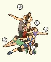 grupo de jogadores de voleibol vetor