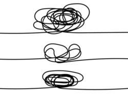 conjunto de linhas com elementos redondos para rabiscar vetor