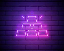 ícone de barras de ouro de néon brilhante isolado no fundo da parede de tijolo. conceito de negócio bancário. ilustração vetorial vetor