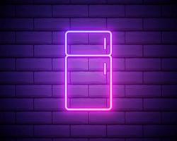 Ícone de néon brilhante da geladeira isolado no fundo da parede de tijolos vetor