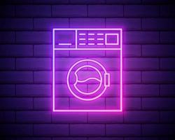 ícone de lavadora de néon brilhante isolado no fundo da parede de tijolo. ícone da máquina de lavar vetor