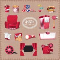conjunto de ícones de filme vetor