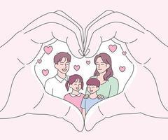mãos em forma de coração, com família feliz vetor
