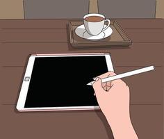 uma mão segurando uma caneta digital e escrevendo algo no tablet. mão desenhada estilo ilustrações vetoriais. vetor