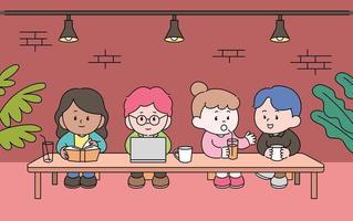 personagens fofinhos estão sentados à longa mesa do café. as pessoas estão lendo livros, olhando para laptops e conversando com amigos. mão desenhada estilo ilustrações vetoriais. vetor