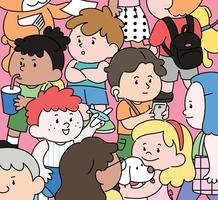 multidão jovem. mão desenhada estilo ilustrações vetoriais. vetor