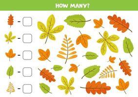 jogo de contagem com lindas folhas coloridas de outono vetor