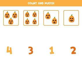 conte todas as abóboras assustadoras e combine com números. vetor