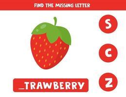 encontrar a letra que falta com morango vermelho bonito dos desenhos animados. vetor