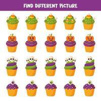 encontre diferentes cupcake de halloween em cada linha vetor