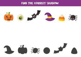 encontrar a sombra certa dos elementos do dia das bruxas. jogo para crianças. vetor