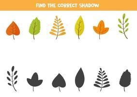 combinar folhas de outono e suas sombras. quebra-cabeça lógico. vetor