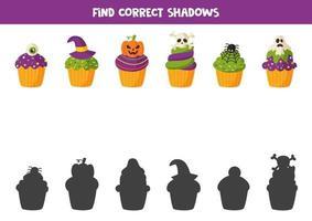 jogo de corte e cola de cupcakes de halloween para crianças. vetor
