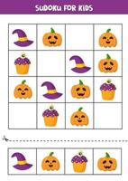 Sudoku jogo lógico com elementos bonitos de Halloween. vetor