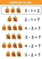 subtração com assustadoras abóboras de halloween. jogo para crianças. vetor