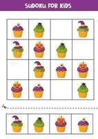 Sudoku jogo de puzzle com bolinhos de Halloween assustadores. vetor