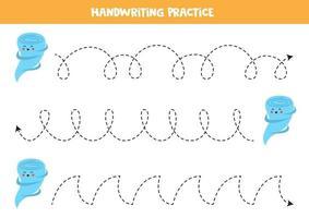 trace as linhas com tornado fofo. prática da escrita. vetor