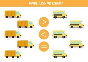 mais, menos, igual a ônibus escolar bonito e caminhão. vetor