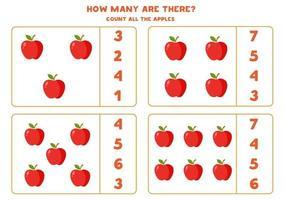 conte a quantidade de maçãs e circule a resposta certa. vetor