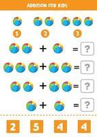 Além disso, com bolas de brinquedo coloridas. jogo de matemática. vetor