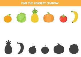 encontre a sombra certa de vegetais e frutas de desenho animado. vetor