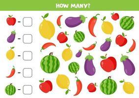 conte a quantidade de vegetais e frutas. escreva a resposta certa. vetor