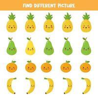 qual imagem da fruta kawaii é diferente das outras. vetor