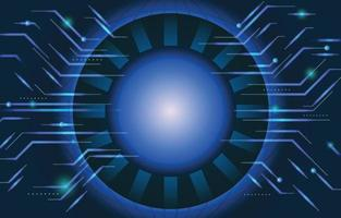 núcleo de tecnologia redondo com painel de circuito verde vetor