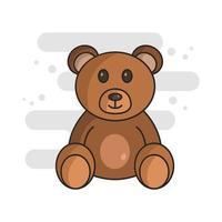 ícone de ursinho de pelúcia no fundo vetor