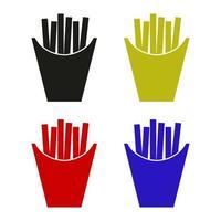 ícone de batatas fritas no fundo vetor