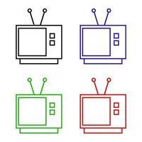 ícone da televisão no fundo branco vetor