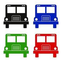 ícone do ônibus escolar no fundo vetor