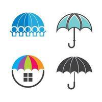 ilustração das imagens do logotipo do guarda-chuva vetor