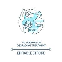 ícone do conceito azul sem tortura ou tratamento degradante vetor