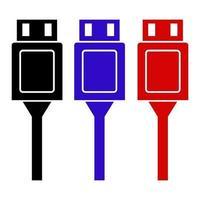 ícone de cabo USB no fundo vetor