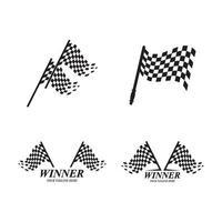 ilustração das imagens do logotipo da corrida da bandeira vetor