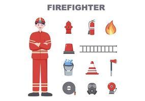 bombeiros com carros de bombeiros domésticos, auxiliando pessoas e animais, utilizando equipamentos de resgate em diversas situações. ilustração vetorial vetor
