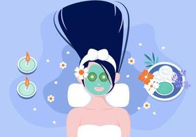 ilustração vetorial de massagem em salão de beleza, spa corporal, relaxamento, facial essencial e cuidados com a pele. design plano vetor