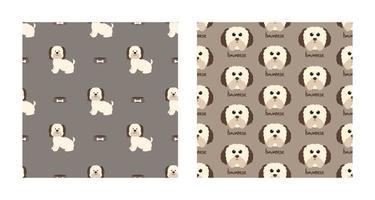 O animal de padrão sem emenda de caráter definido de cão bonito havanese pode ser usado como papéis de parede de projetos ou fundos. ilustração vetorial vetor