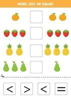 mais, menos ou igual a frutas fofas de desenhos animados. vetor